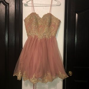 Blush Pink formal dress with rhinestone design